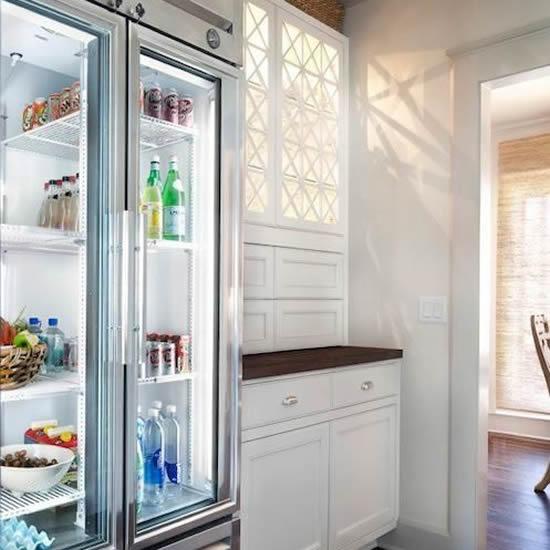 6247-Refrigerador de Acero Inox, 2 Puertas Deslizables de Cristal true