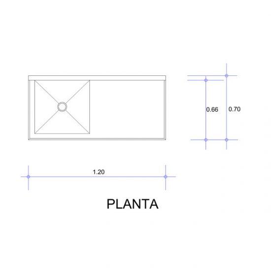 5564_Fregadero con Una Tarja para Ollas Mod. FOSC-120-planta