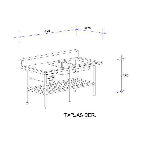 6322_Fregadero con Doble Tarja para Cristaleria Mod